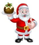 Santa Holding un pudín de la Navidad stock de ilustración