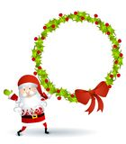 Santa Holding Wreath 2 Royalty Free Stock Photos