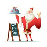 Santa holds a tray in his hand and makes the delicious gesture. Near the board with an inscription Christmas menu Royalty Free Stock Image