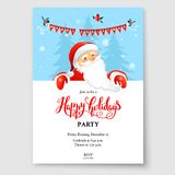 Santa holiday winter. Cartoon character Santa Claus on winter holiday invitation. Template Christmas sample for banners, advertising, leaflet, cards, invitation Stock Photos