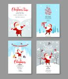 Santa holiday winter set. Cartoon character Santa Claus on winter holiday invitation. Template Christmas sample for banners, advertising, leaflet, cards Stock Photos