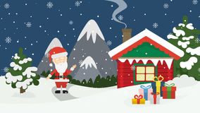 Santa at home. Beautiful scene of Santa Claus near christmas house in snow. Winter landscape with mountains and snow Royalty Free Stock Photography