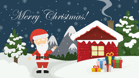 Santa at home. Beautiful scene of Santa Claus near christmas house in snow. Winter landscape with mountains and snow. Merry Christmas Royalty Free Stock Photography