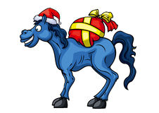 Santa Horse. Illustration cartoon blue horse in Santas hat and with a gifts bag. Available in vector EPS format Royalty Free Stock Photo