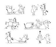 Santa, Horse and Sheep celebrated New Year royalty free illustration
