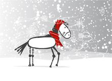 Santa horse sketch for your design. Symbol of 2014 Stock Photography