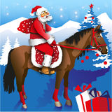 Santa on Horseback Royalty Free Stock Image