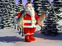 Santa with horses. In the hands of the forest Royalty Free Stock Photos
