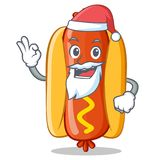 Santa Hot Dog Cartoon Character Image stock