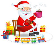 Santa with Hot tea and cookies. Cosy and house picture, a  vector illustration. an additional format is available Stock Images