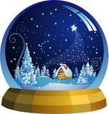 Santa house. Vector snow globe with a Santa house within. Vector illustration Stock Image