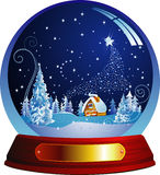 Santa house. Vector snow globe with a Santa house within. Vector illustration. Copy space for text message Royalty Free Stock Images