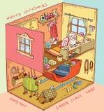 Santa House dentro Ilustración del vector Foto de archivo libre de regalías