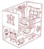 Santa House dentro Ilustración del vector Foto de archivo