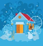 Santa House on winter landscape Royalty Free Stock Images