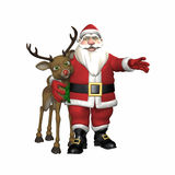 Santa Hugging Reindeer Stock Photography