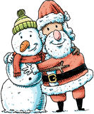Santa Hugging Snowman Stock Photography