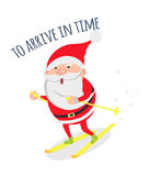 Santa Hurries to Congratulate People with Holidays. Santa Claus arrive in time. Santa hurries to winter holidays to congratulate people. Merry Christmas and Royalty Free Stock Images
