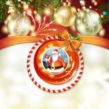 Santa i Bożenarodzeniowa piłka Fotografia Royalty Free