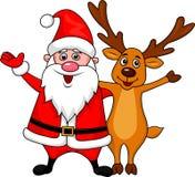 Santa i jeleni falowanie Obrazy Royalty Free