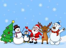 Santa i przyjaciele Obraz Stock