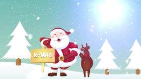 Santa I Reniferowa Bożenarodzeniowa sztandar animacja ilustracji