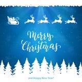Santa i Wesoło boże narodzenia na Błękitnym tle ilustracja wektor
