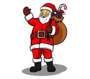 Santa i worek prezenty Ilustracji