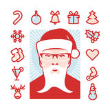 Santa with Icons Royalty Free Stock Photos