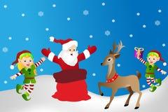 Santa ilustracja, renifer i elfs na zimy tle, ilustracja wektor