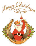 Santa In Cowboy Shoes And Lasso Stock Image