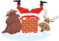 Free Santa In The Chimney And Reideer Royalty Free Stock Photography - 27067987
