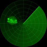 Santa Incoming. Santa Claus shows up flying in his sled on the radar screen vector illustration