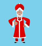 Santa India. Christmas Indian Claus. Red Turban fur. East Grandp Royalty Free Stock Photos