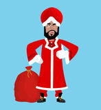 Santa India. Christmas Indian Claus. Red Turban Fur. East Grandpa New Year Stock Images