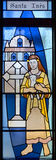 Santa Ines (Saint Agnes of Rome) stained gals window Stock Photography