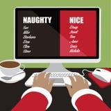 Santa inputs his naughty or nice list Stock Photos