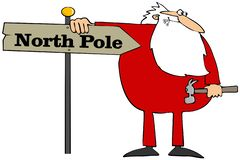 Santa installing a North Pole sign stock illustration