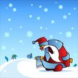 Santa irritada com machado Fotografia de Stock Royalty Free