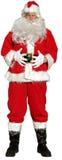 Santa isolata si leva in piedi con le sue mani sul suo tummy come se per dire   Immagini Stock