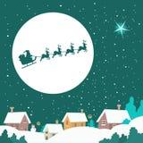 Santa jedzie jego sanie ilustracji