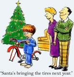 Santa jest przynosi opony w przeszłym roku ilustracji