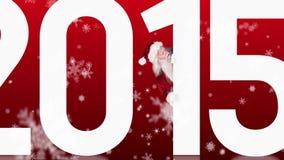 Santa jetant un coup d'oeil vers 2015 sur le fond de fête banque de vidéos
