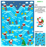 Santa jeu livrent des présents 3d de Noël ou de nouvelle année labyrinthe Image stock