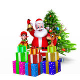 Santa with jingle bell before christmas tree Stock Photo