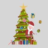 Santa jouant avec beaucoup de cadeaux 3d Photos stock