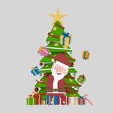 Santa jouant avec des cadeaux dans l'avant sur l'arbre de Noël 3d Photos stock