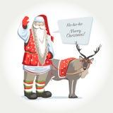 Santa Joulupukki com cervos e o quadro text a ilustração isalated vetor ilustração stock