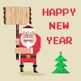 Santa.jpg. Wooden sign and pixel art Santa.Vector illustration Royalty Free Stock Images