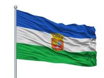 Santa Juana City Flag On Flagpole, Χιλή, που απομονώνεται στο άσπρο υπόβαθρο Ελεύθερη απεικόνιση δικαιώματος